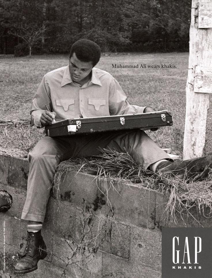 """Who Wore Khakis"" Gap campaign, Muhammad Ali, 1993."