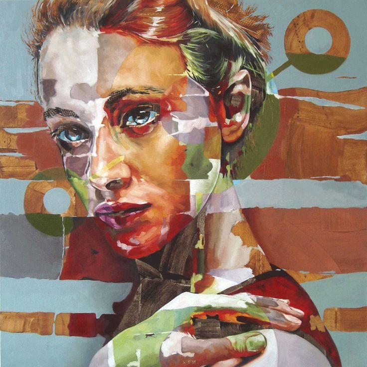 """""""Girlshapedlovedrug"""" by Corné Eksteen, 100 x 100cm Oil on canvas"""