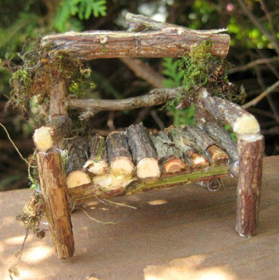 Garden Fairy Houses Twigs | MINIATURE fairy garden LOVESEAT twig garden bench by CLOUDFAIRY