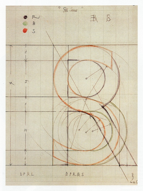 Eric Gill - Sketch for Gill Sans letters: B,P,R,S  1932