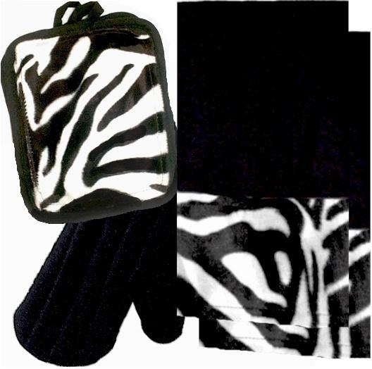 AnythingAnimals.com  Animals Bordering Africa Animal Print Kitchen Linen Set .  Black/Zebra $35