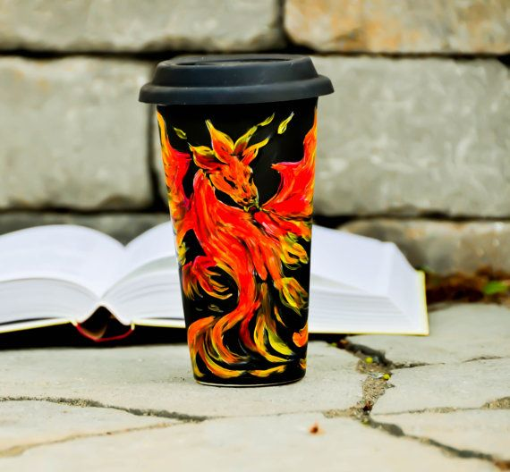 Fire Dragon Travel Mug  Dungeons and Dragons by PictureInADream