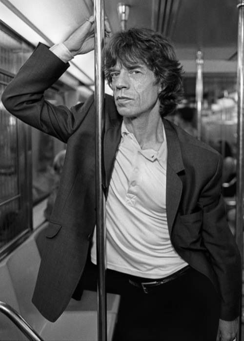 "Mick Jagger on NYC subway scene from music video ""Have You Seen My Baby"" with Angelina Jolie. cg."
