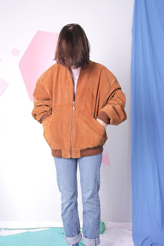 suede bomber jacket leather mustard jacket vintage retro