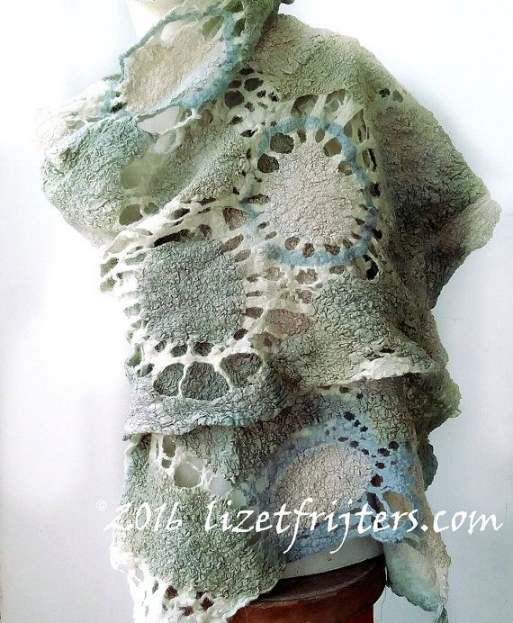 Light Greyish Turquoise Nuno Felt Shawl Wrap от lizetfrijters