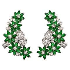 Emerald Baguette and Round Diamond Gold Floral Design Earrings