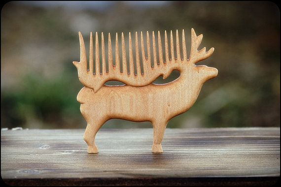Wooden hair comb Deer by WonderfulSun on Etsy