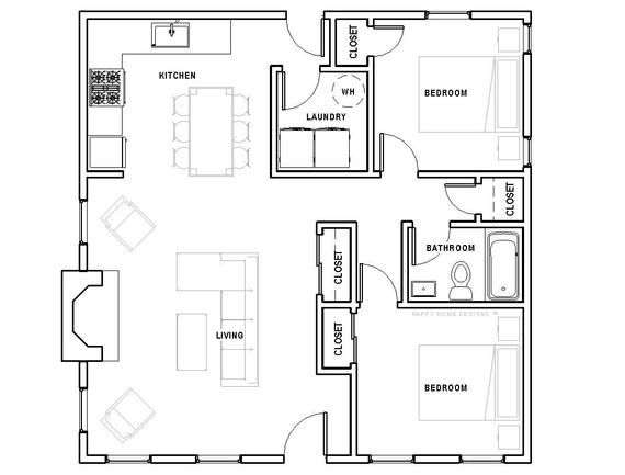 The Cottage 2 Bed 1 Bath 30 X30 Custom House Plans And Blueprints In 2021 Custom Home Plans Bedroom House Plans House Plans