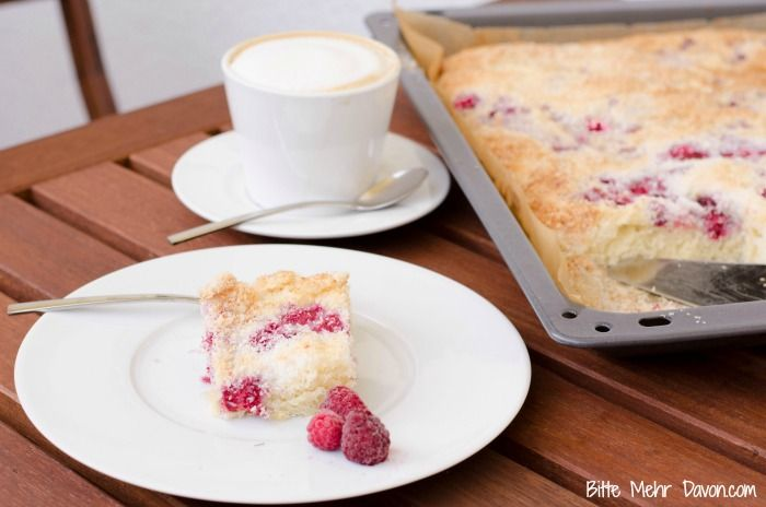 Buttermilch Kokos Kuchen mit Himbeeren Blechkuchen schneller Blechkuchen…