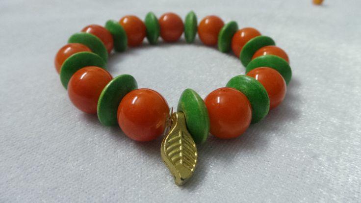 Orange Glass and wood Bead Bracelet for Women
