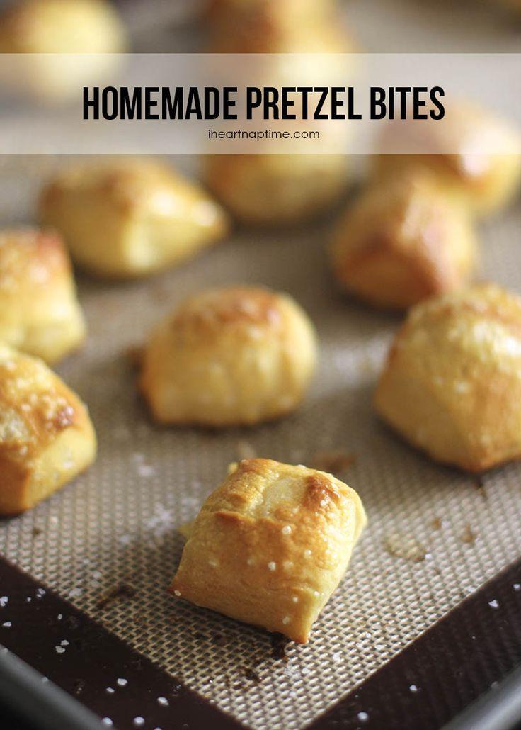Easy & delicious homemade pretzel bites on http://iheartnaptime.net ...make them in 30 minutes! #gameday #appetizers