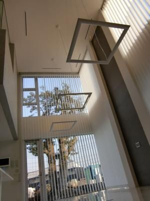 Electric operated vertical blinds, ceiling height is 6m