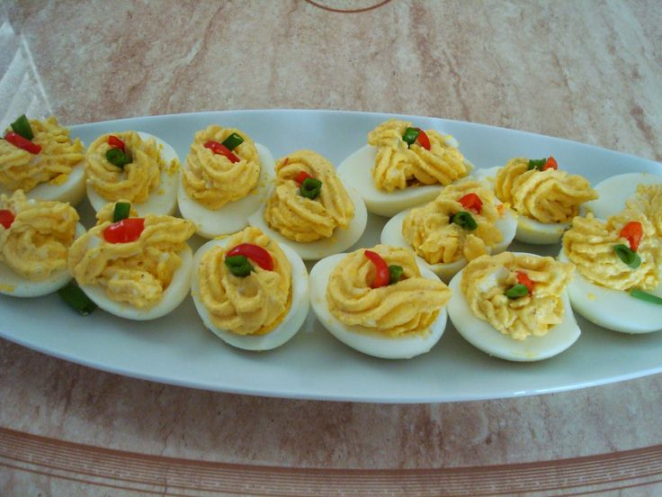Serena's Choices: Potato Deviled eggs.  Quite easy to make. You can decorate the top with any colourful favourites.