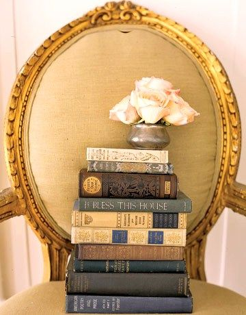 A fancy chair to sit up on whilst reading. : Vintage Books, Spring Flowers, Antiques Books, Country Houses, Paintings Colors, Old Houses, Antiques Chairs, Houses Tours, Old Books