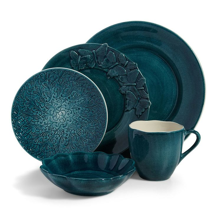 Mateus Dinnerware from Bloomingdales.com. This is quite stunning. Look at the dinner plate with the butterflies added to it. That's gorgeous. And the full plate design on the salad plate. Top it off with a shallow dessert bowl... a very nice pattern with lots of variety and a dramatic deep, ocean color.