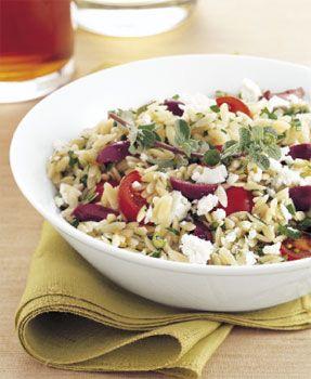 orzo and shredded chicken salad: Greek Orzo, Chicken Salad, Pasta Salad, Tomatoes Salad, Vinaigrette Recipe, Tomato Salad, Favorite Recipe, Marjoram Vinaigrette, Orzo