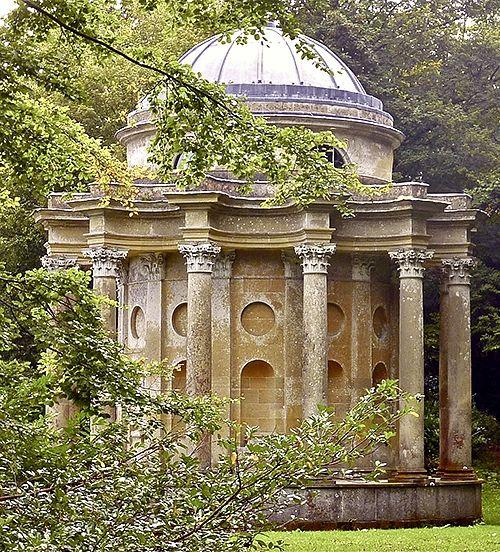 The Temple of Apollo, Stourhead Gardens, Wiltshire, England.