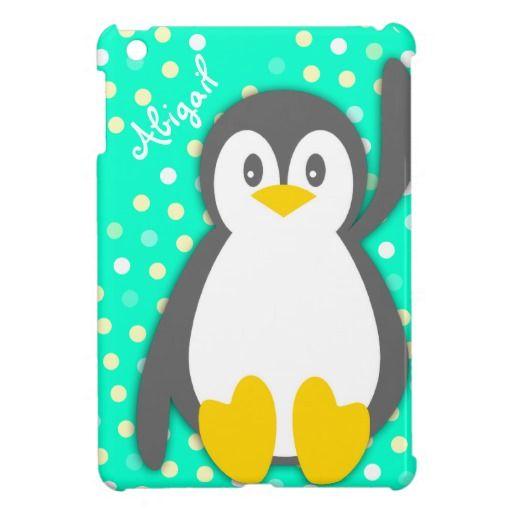 Kids girls penguin name aqua ipad mini case by www.sarahtrett.com