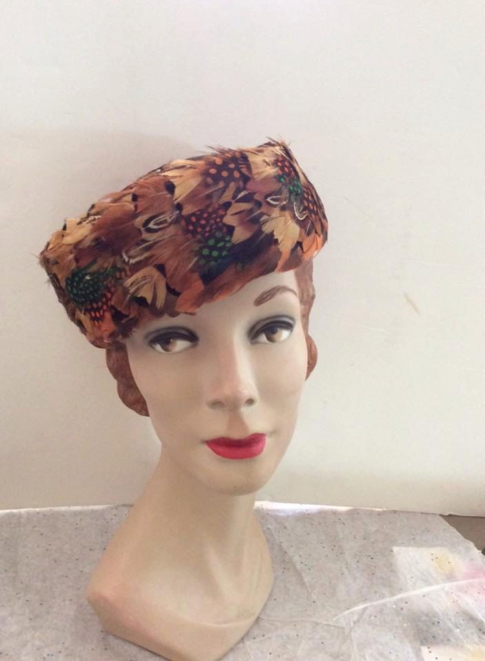 Vintage 1960s Hat Pheasant Feather Pillbox
