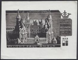 Konstantin S. Koslowski (?-?): Ex libris. Fametszet, Jelzett. / Russia bookplate wood-engraving, Signed 11x14 cm
