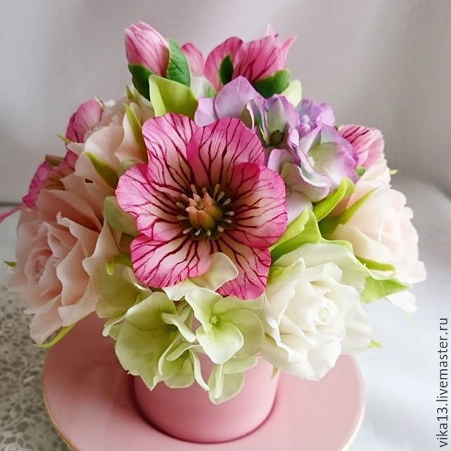 """Купить Букет """" Морозник с гортензией"""" - фуксия, розовый цвет, Морозник, гортензия, Лиловый цвет"""
