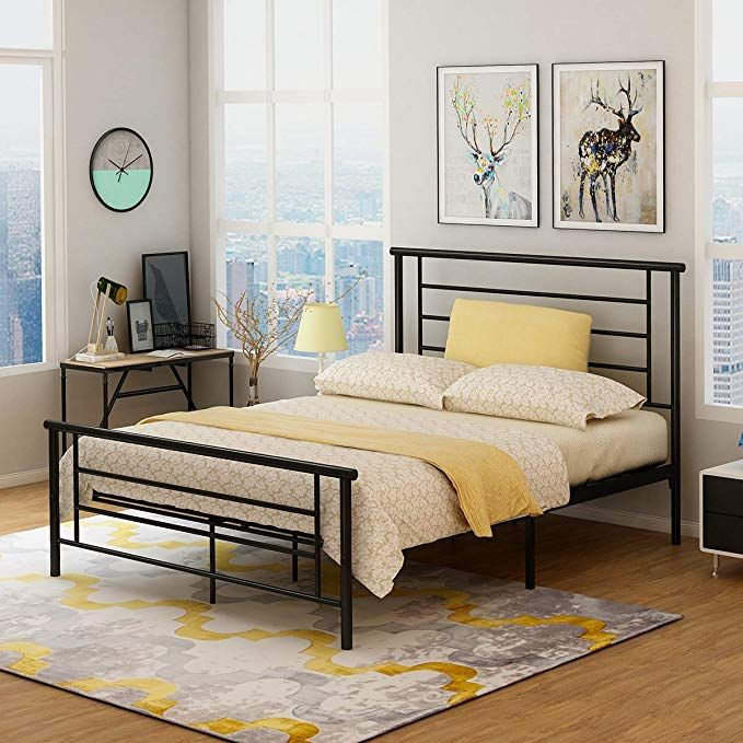 Metal Bed Frame Platform With Headboard And Footboard Board Steel Slat Support Mattress Foundation Box Spring Metal Bed Frame Bed Frame Headboard And Footboard