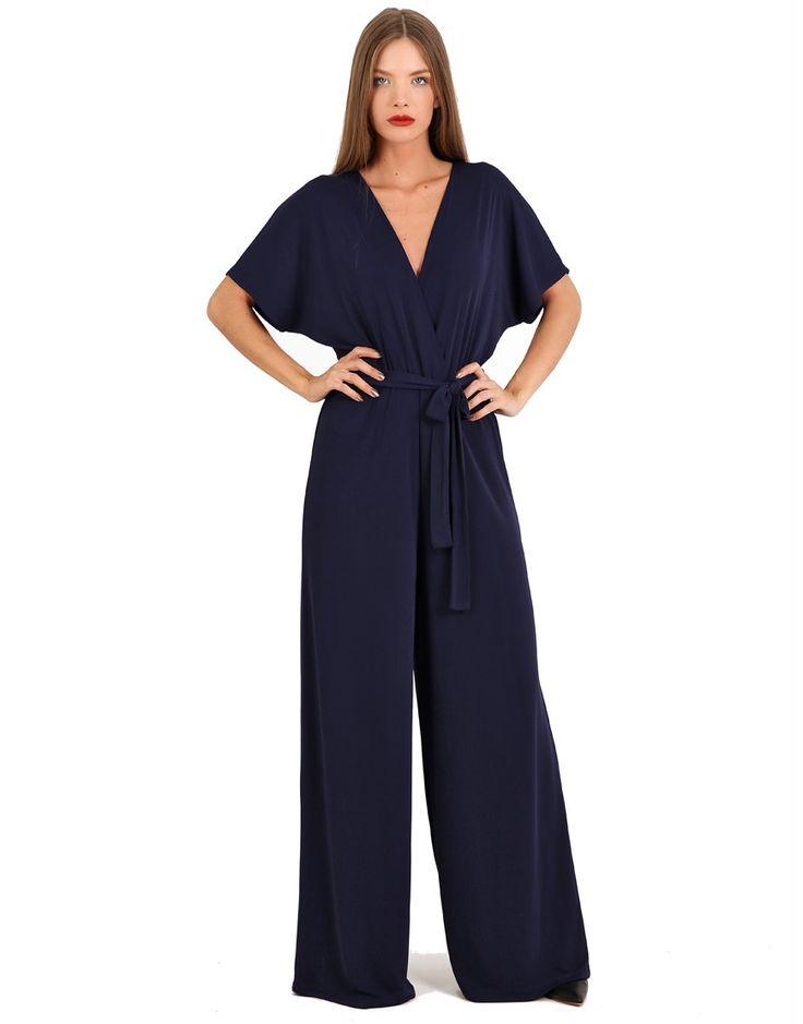 Σκούρο μπλέ κρεπ κρουαζέ ολόσωμη φόρμα - Σκούρο Μπλε