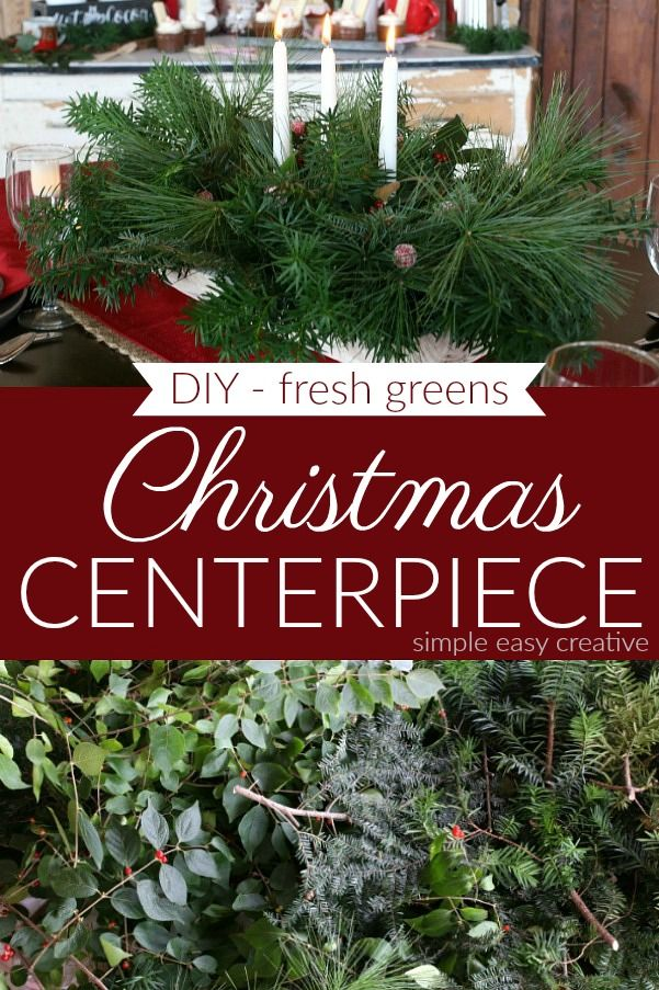 Diy Table Centerpiece Made With Fresh Greens Christmastable Tablecenterpiece Christmas Centerpieces Diy Christmas Centerpieces Fresh Greens Christmas