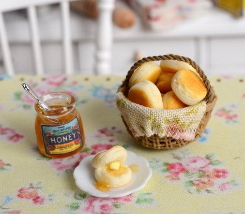 Miniature Biscuit and Honey Set by CuteinMiniature on Etsy   24 00