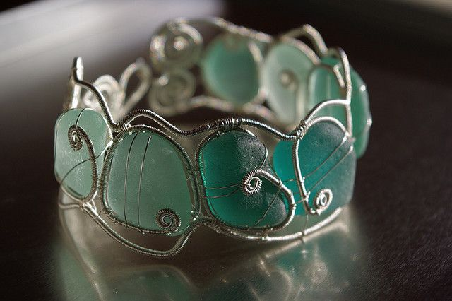 Teal seaglass wire wrapped bangle