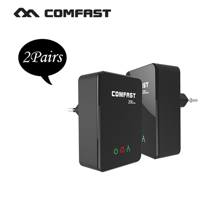 2Pairs COMFAST Power line ethernet adapter extender 200Mbps 2.4GHz Mini plc home plug network Powerline Adapter kit CF-WP200M