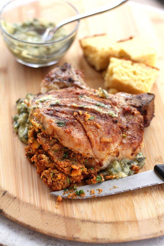 Chorizo-Cornbread Stuffed Pork Chops with Poblano Cream Sauce | Drool-Worthy