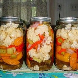 Home Made Giardiniera Mix _ This recipe is sure to become a favorite. The recipe features crisp, zesty pickled vegetables with garlic & chili peppers in cider vinegar.