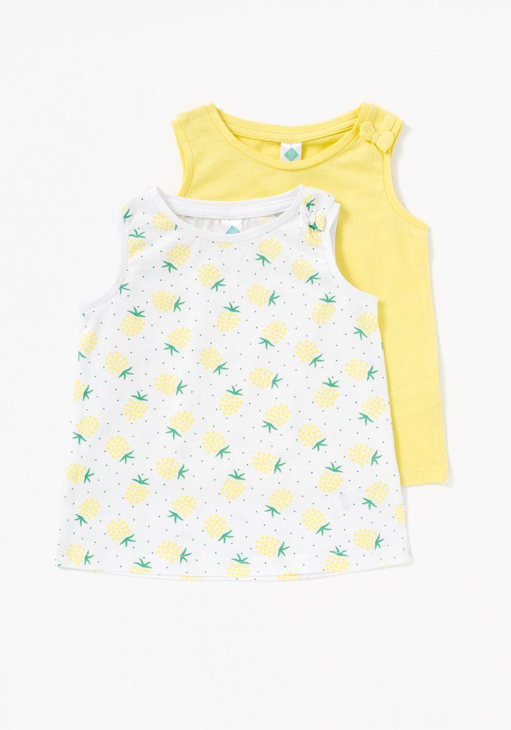 Pack de dos camisetas para niña sin mangas  con cuello redondo y  lazo en el hombro. Diseñado en España. Algodón:100%
