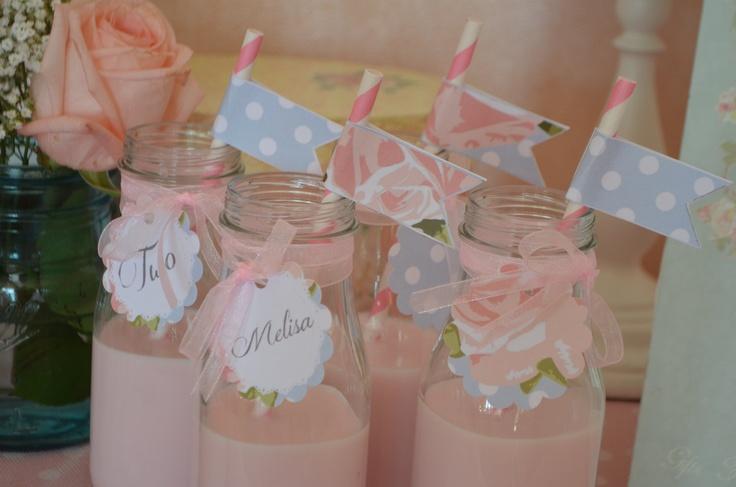 English Roses Shabby Chic Elegant  Pink, Aqua and Green Birthday Party/Baby Shower Party Printables. $37.50, via Etsy.
