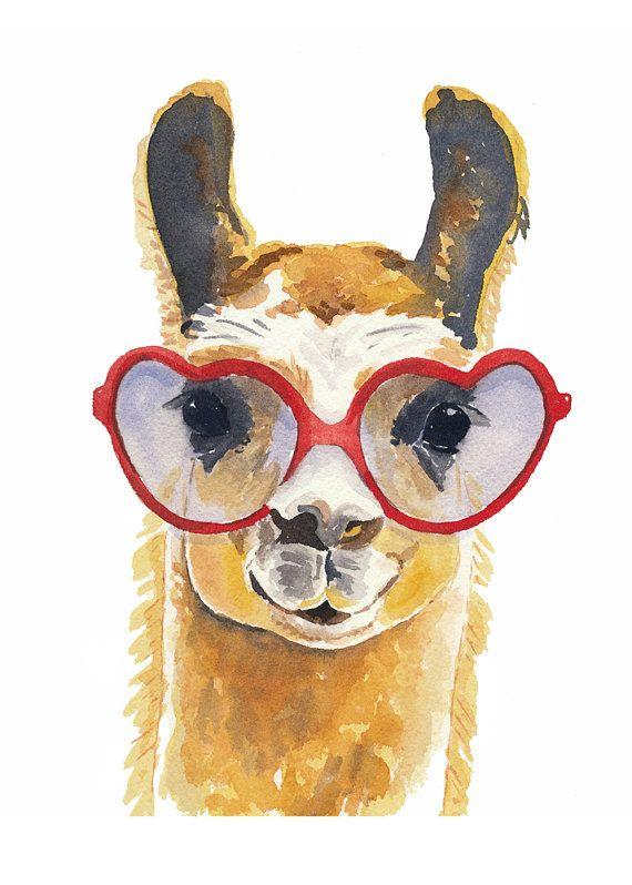 PRINT Llama Watercolour Llama Illustration by ...