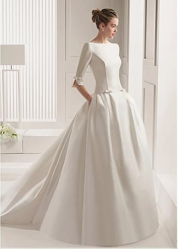 Chic Satin Bateau Neckline Dropped Waistline Ball Gown Wedding Dress With Handmade Bowknot