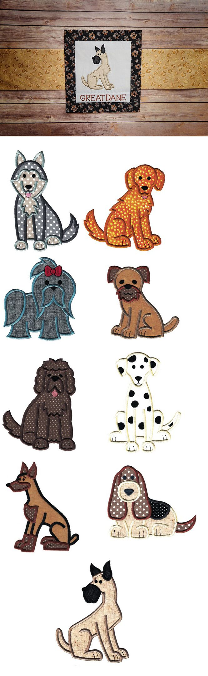 Top Dogs Applique Set 1 design set is available for instant download at designsbyjuju.com