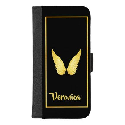 Faux gold angel wings on elegant black background iPhone 8/7 plus wallet case - faux gifts style sample design cyo
