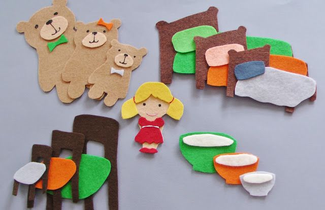 Ah, another good old fashioned flannel board story...  Goldilocks!   I love Byron Barton's version  of this one, and was inspired by the ...