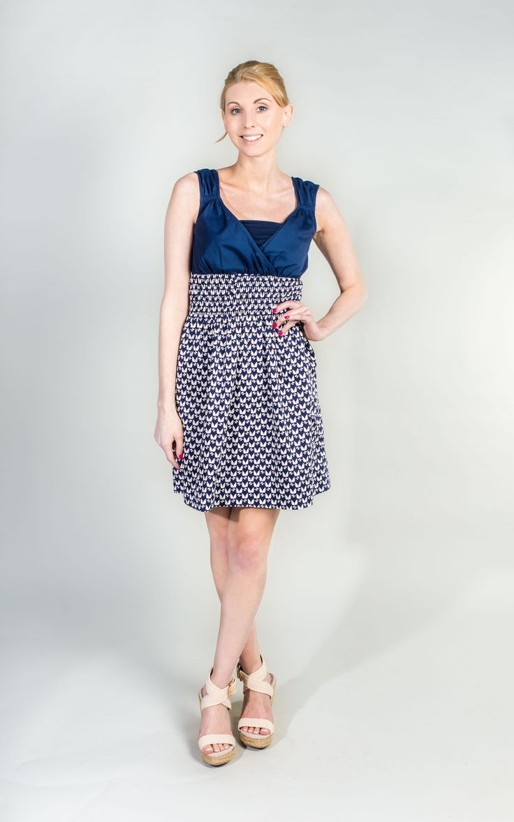 Pretty Navy and White Ruched Dress  #Navy #Dress #WantHerDress