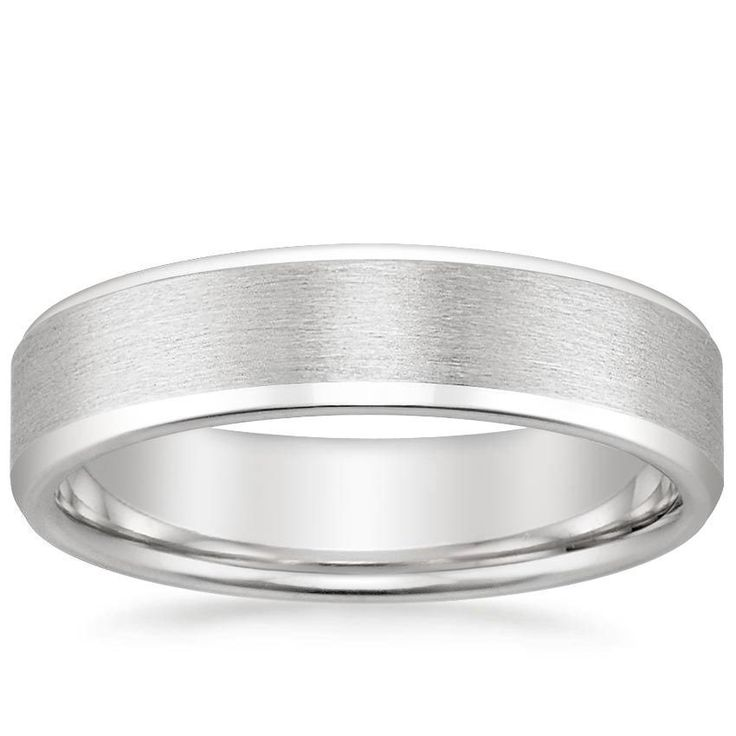 18K White Gold Beveled Edge Matte Wedding Ring   Brilliant Earth