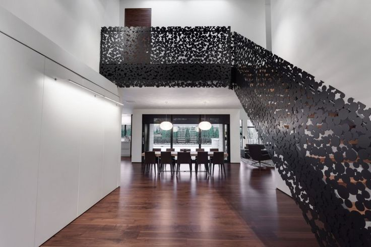 Interior:Modern Fashoin Staircase Ideas With Added Black Polka Dots On Staircase Make Modern Staircase Of Iron Lace Modern Mansion In Montreal Canada Also The Mansion Will Have Large Living Room And Great Interior Design Modern Mansion Style with Adorable Black Polka Dots Staircase in Canada