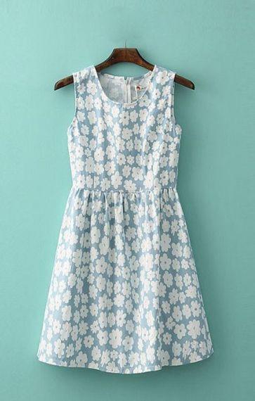 Flowers Printing Pleating Hem Sleeveless Vest Dress