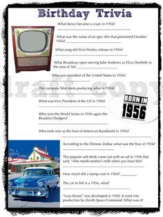 This Is A Great Game For Birthday Party Anyone Born In The 50s