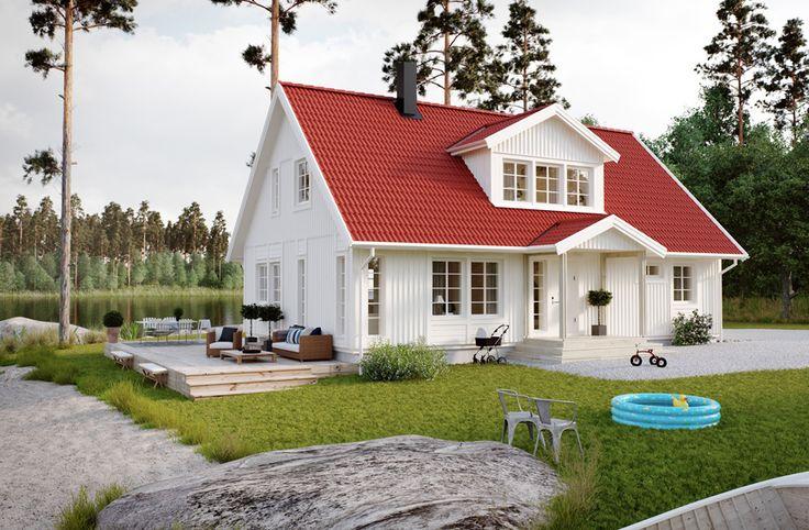 Villa Västervik är ett 1,5-planshus om 155,7 m2. Här finns öppen planlösning för umgänge i både kök och vardagsrum samt en övervåning med oändliga inredningsmöjligheter. På baksidan av huset finns det två utgångar mot trädgården, vilket ger möjlighet att bygga ett rejält trädäck. Perfekt för er som gärna umgås utomhus! #smålandsvillan #villavästervik #hus #bygganytt #nybyggnation #inspiration #hustillverkare