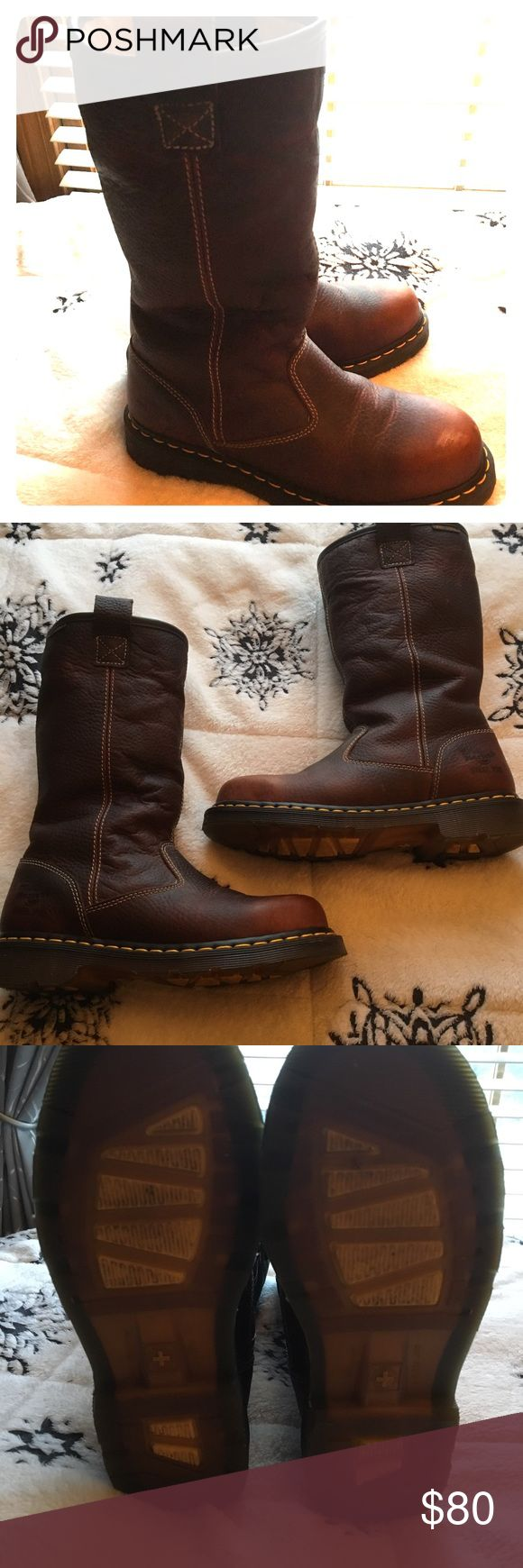 Dr Martens Women's Safety Rigger Boots Women's steel toe Dr Martens steel toe boots (UK) Size 7 US Very warm inside.    Can be cuffed (see screen shot)  Worn once.  Too big for me.   Contact with any questions Dr. Martens Shoes Combat & Moto Boots