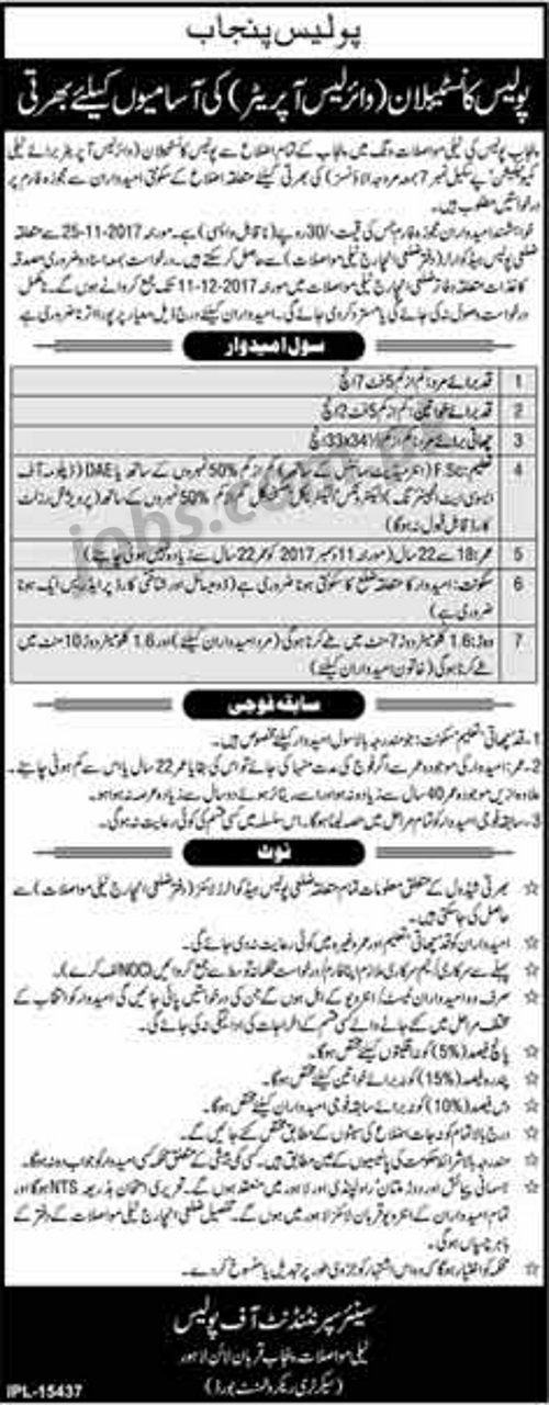 Punjab Police Jobs 2018 for Police Constables / Wireless Operators