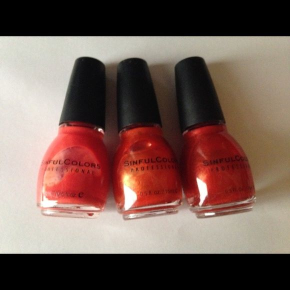 Set of 3 Sinful Nail Polishes All full bottles. Colors (in order of photo): Dream On, Courtney Orange, Tanji Orange. Sinful Makeup