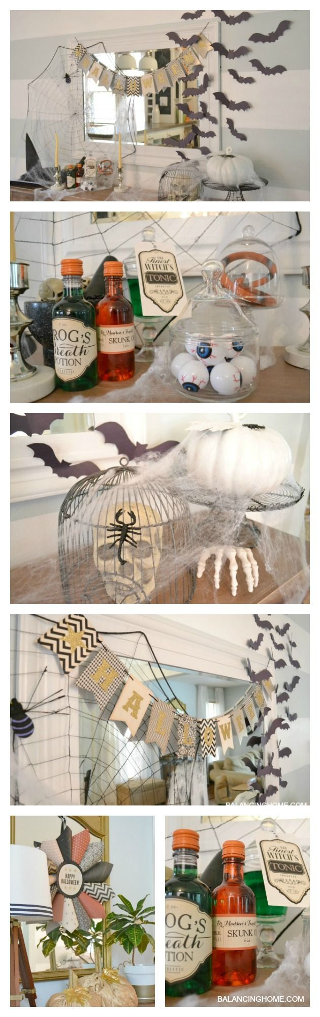 A spooky Halloween mantle that is witch themed. Dollar store items and simple crafts.